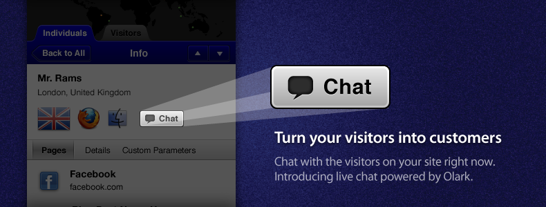 Introducing Live Chat powered by Olark. Turn your visitors into customers.