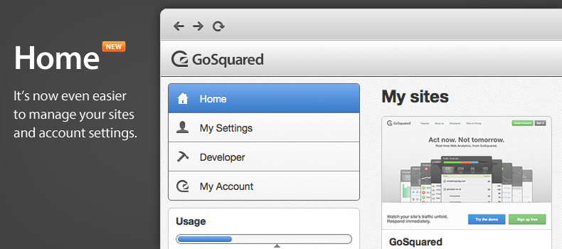 The new home and account area of GoSquared