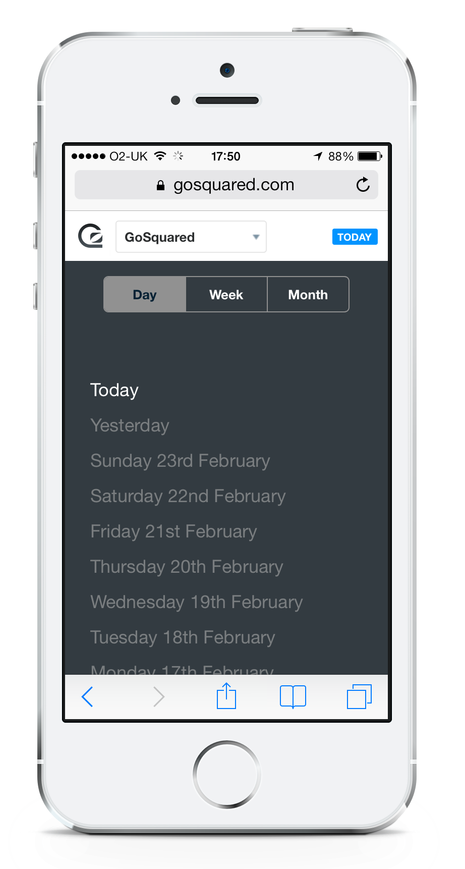 Switch timeframes in GoSquared on mobile easily