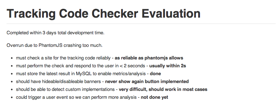 Tracking Code Checker - Evaluation
