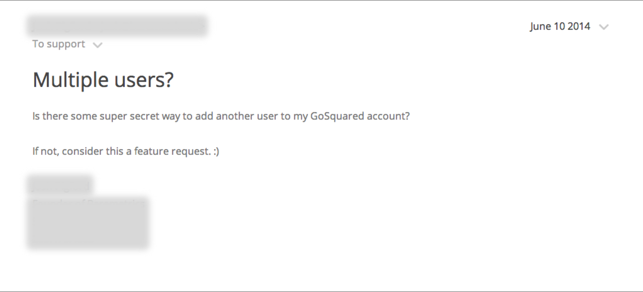Screenshot of customer asking where team sharing is in GoSquared