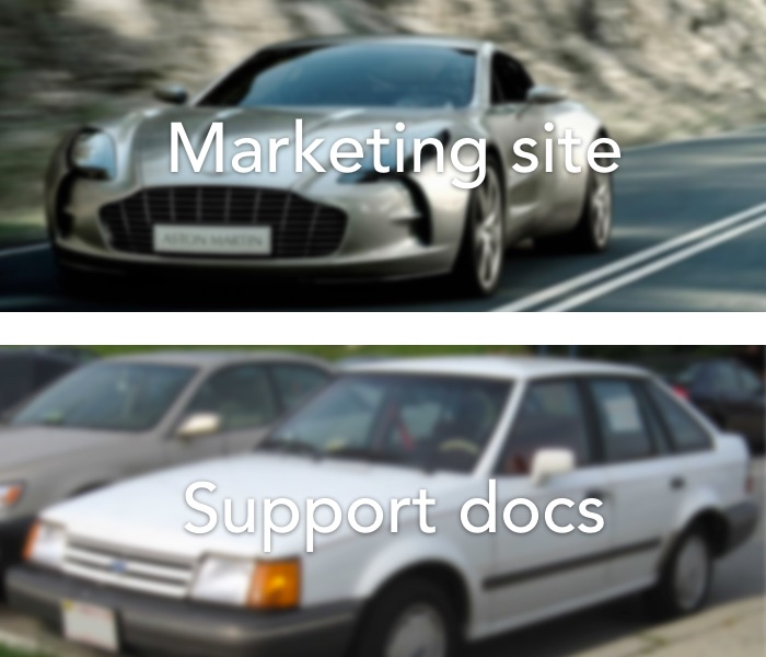 Why does the marketing site never match the support docs? Aston Martin vs Ford Escort