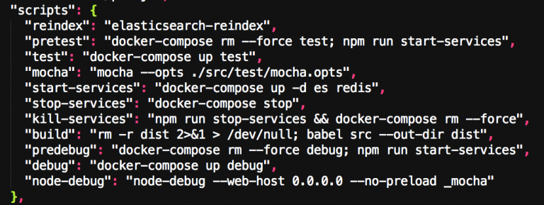 Testing with Docker - what is being run in NPM