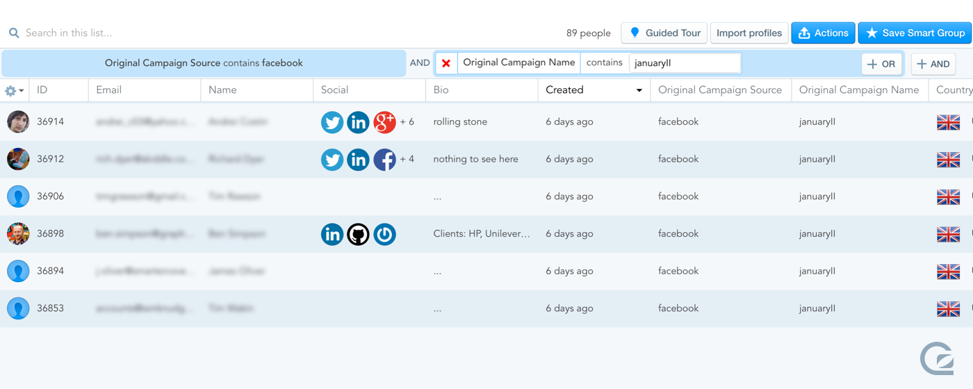 Finding users by campaign name in GoSquared People