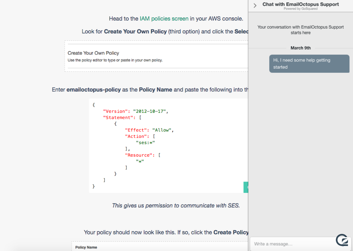 Screenshot of GoSquared Live Chat on the EmailOctopus website