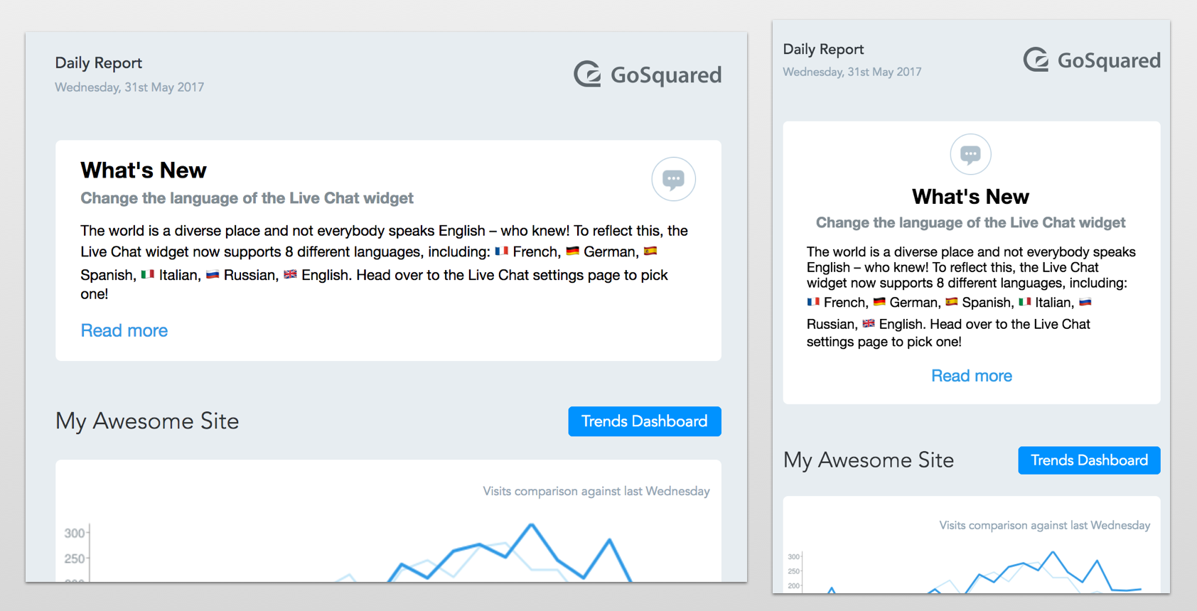 Screenshot of GoSquared Daily Report email product announcements