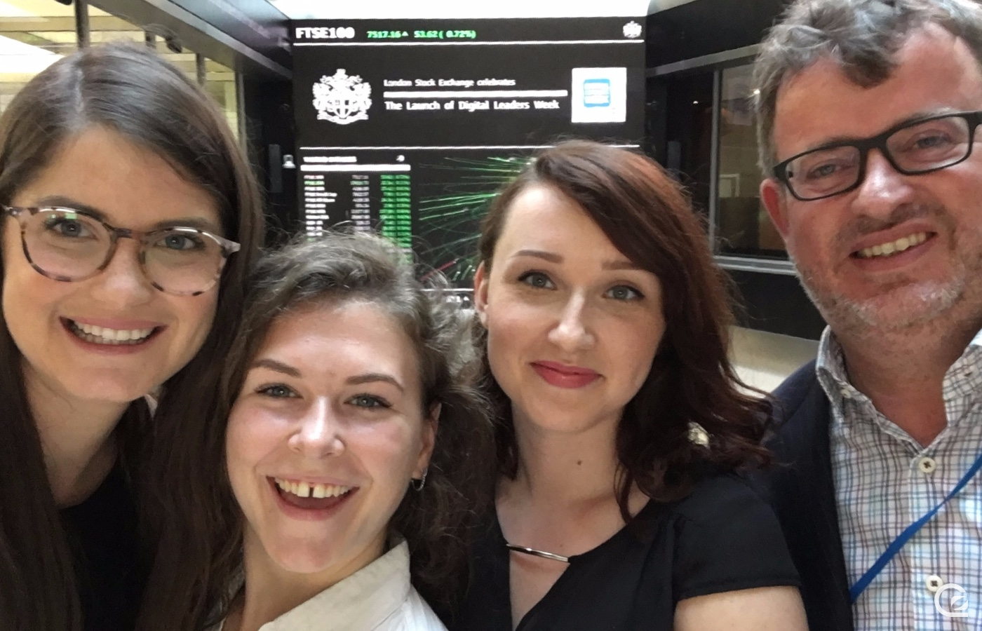 The Digital Leaders Team – A selfie from the DL Week Launch Opening Bell Ceremony at the London Stock Exchange