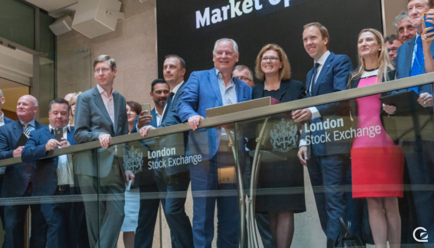 Francis Maude, Sherry Coutu and Matt Hancock MP ringing the opening trading bell at London Stock Exchange to launch the start of Digital Leaders Week