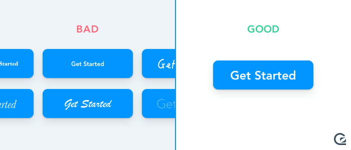 Call-to-Action buttons should use a large and legible font