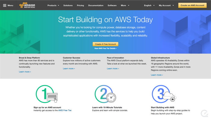 Amazon Web Services CTA example