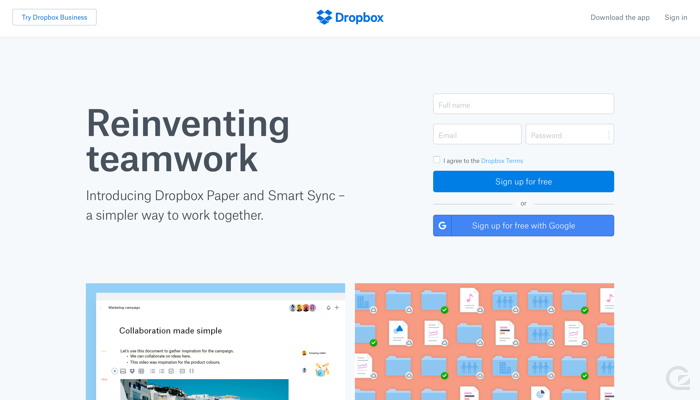 Dropbox CTA example