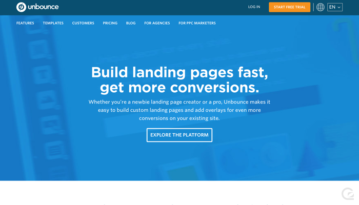 Unbounce CTA example