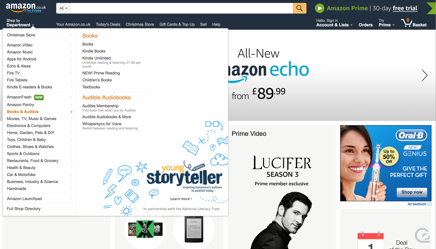 Amazon website navigation