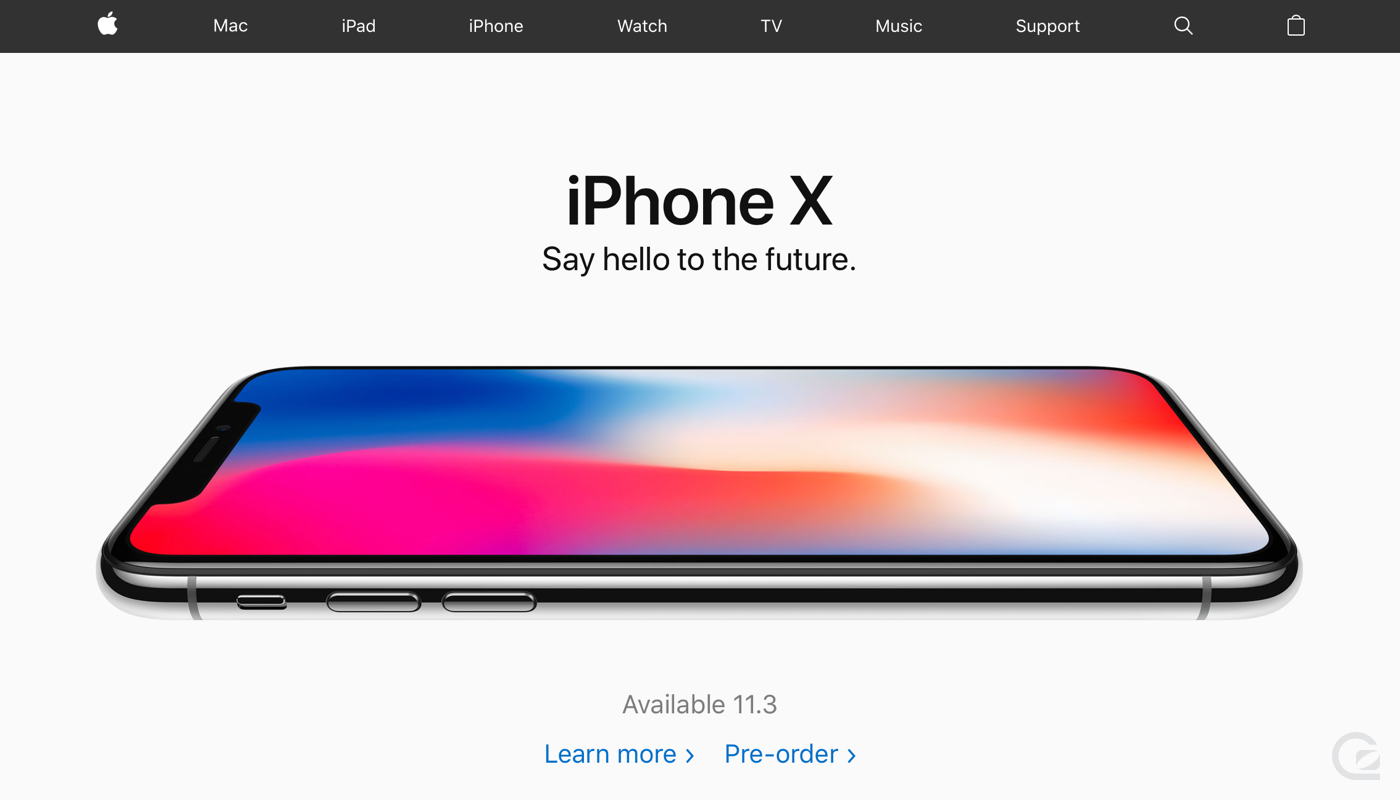 Apple website navigation
