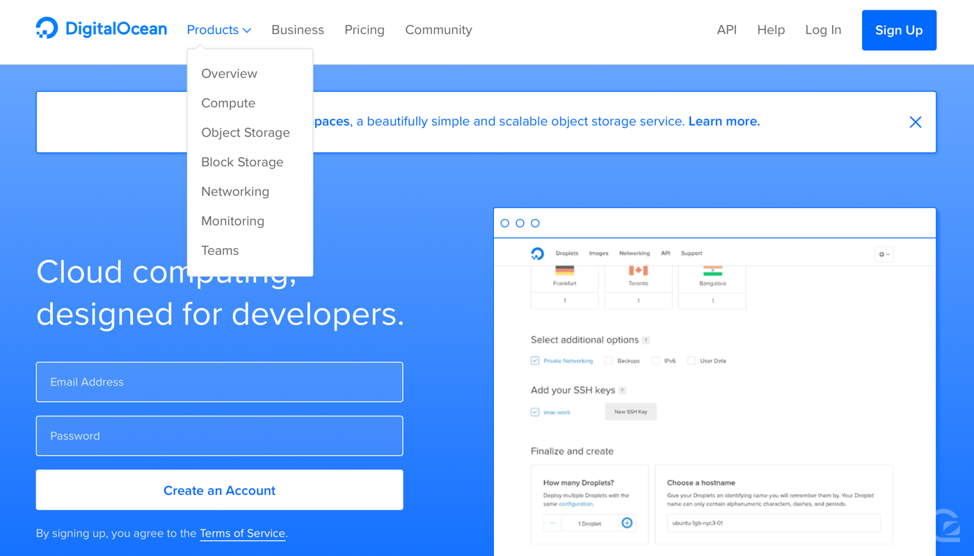 DigitalOcean website navigation