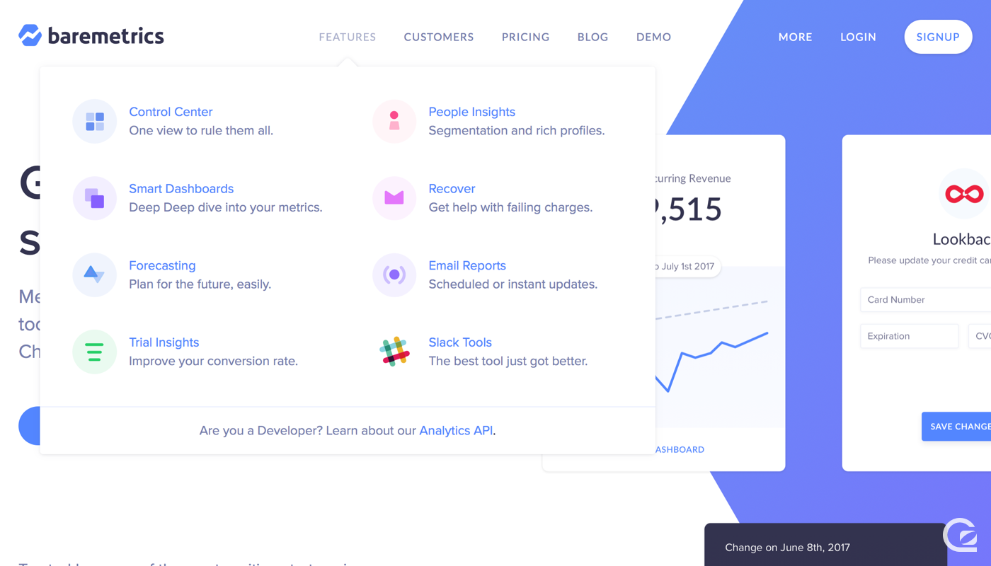 Baremetrics website navigation