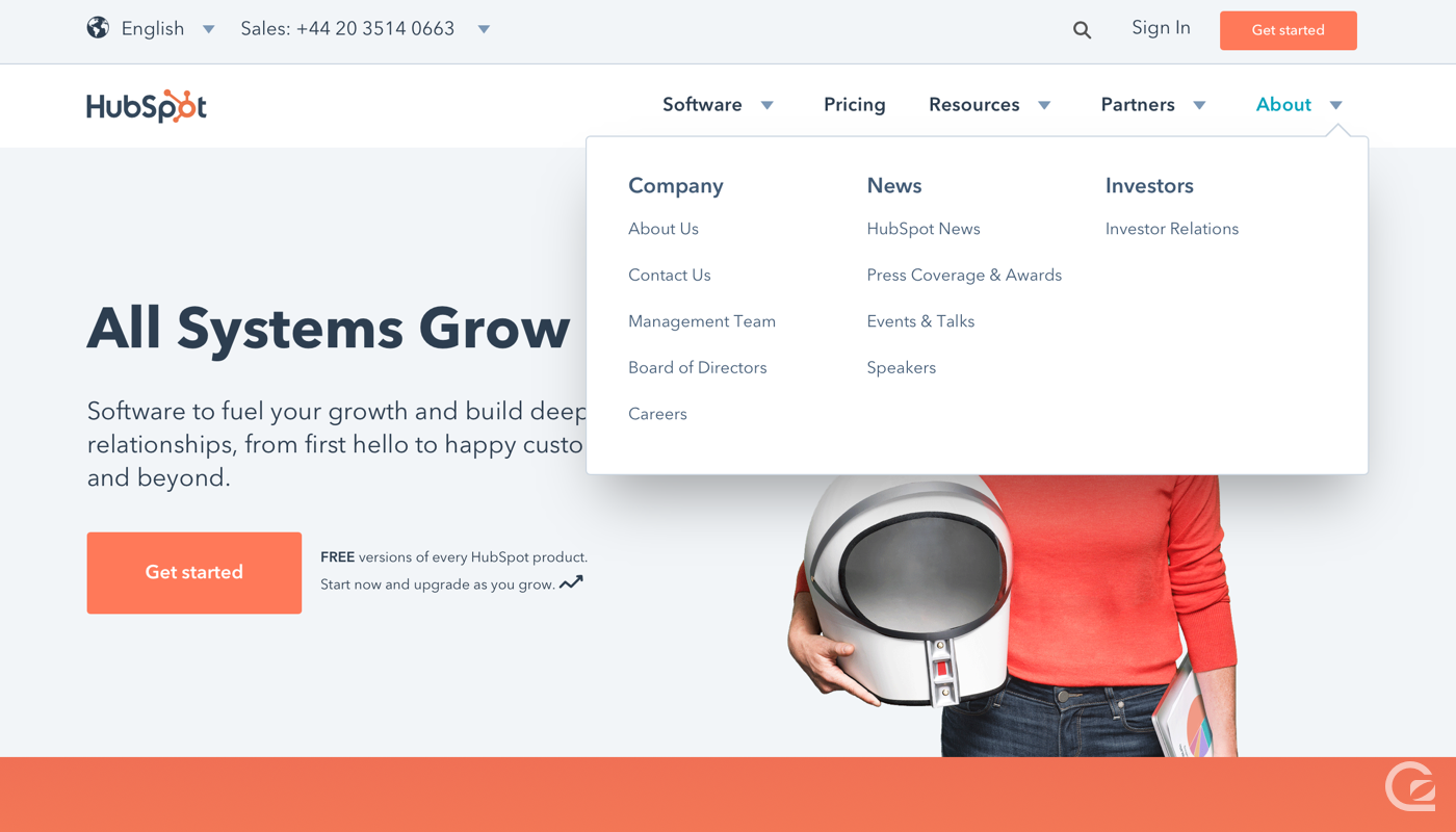 Hubspot website navigation
