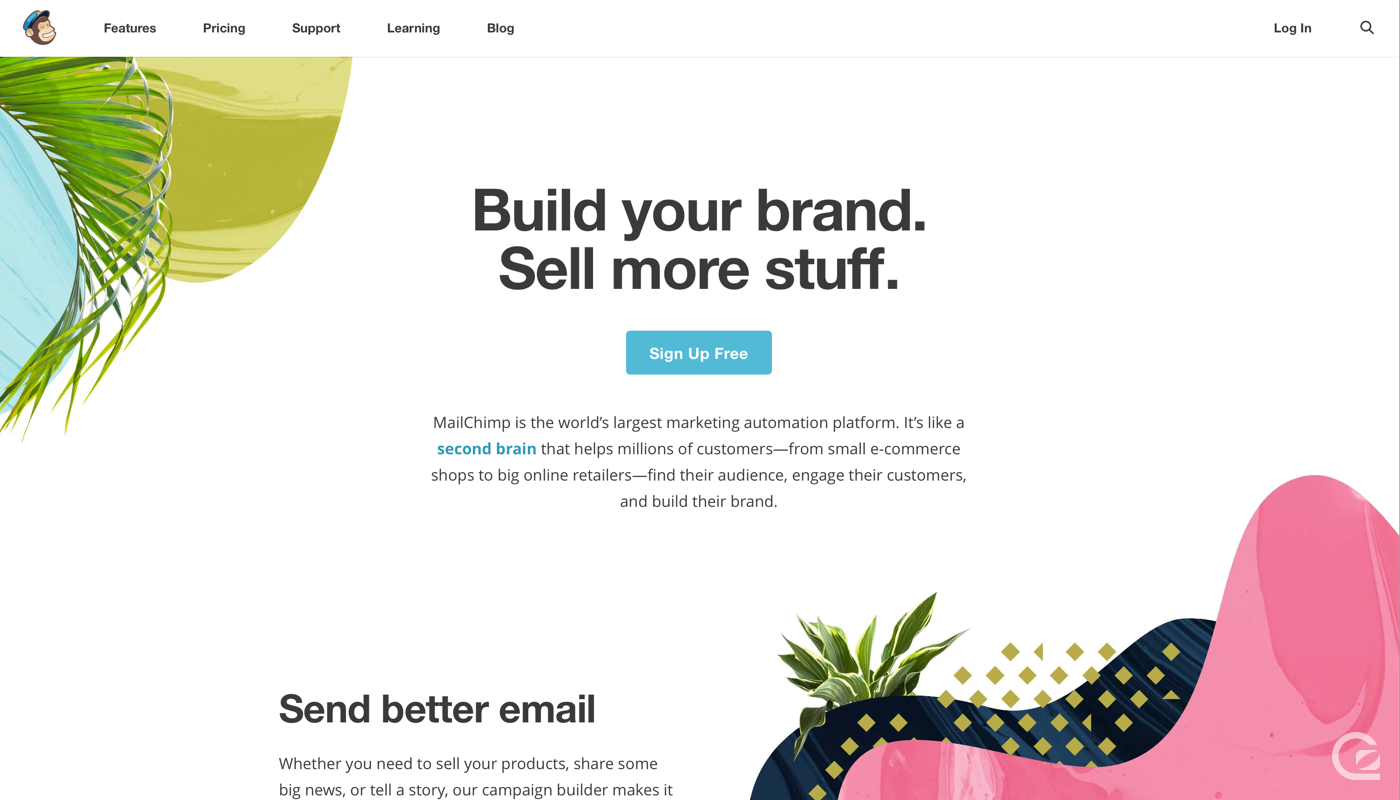 MailChimp website navigation