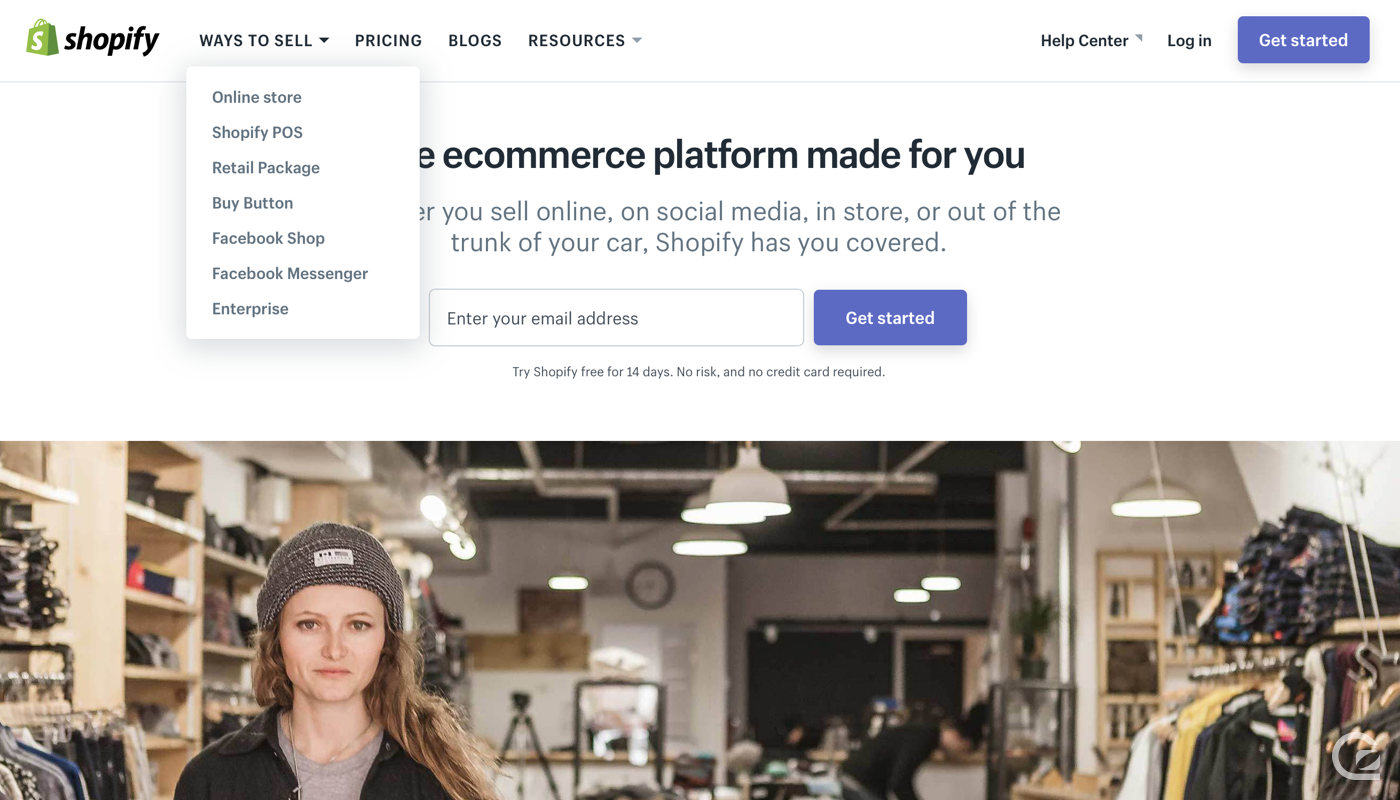 Shopify website navigation