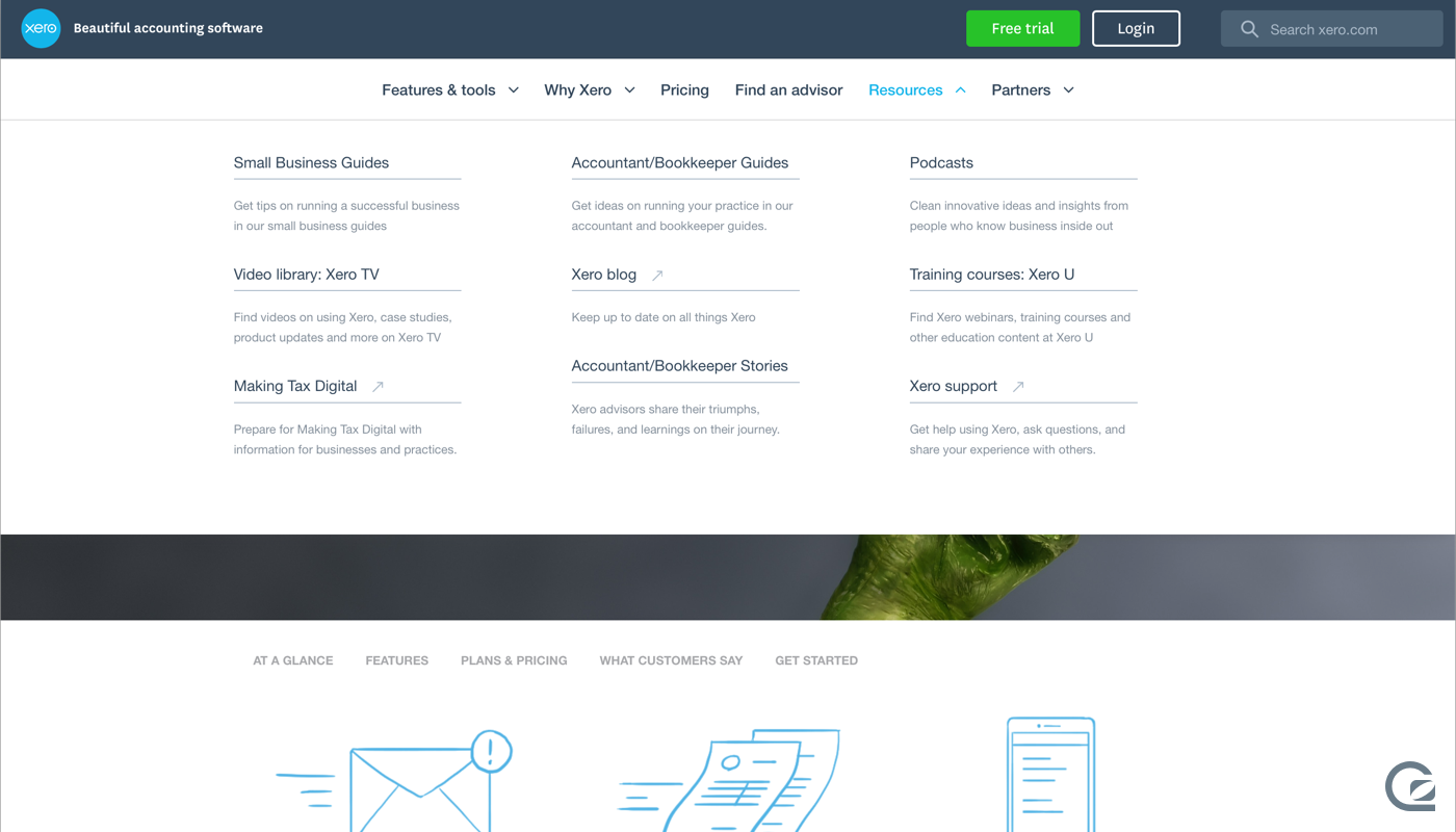 Xero website navigation