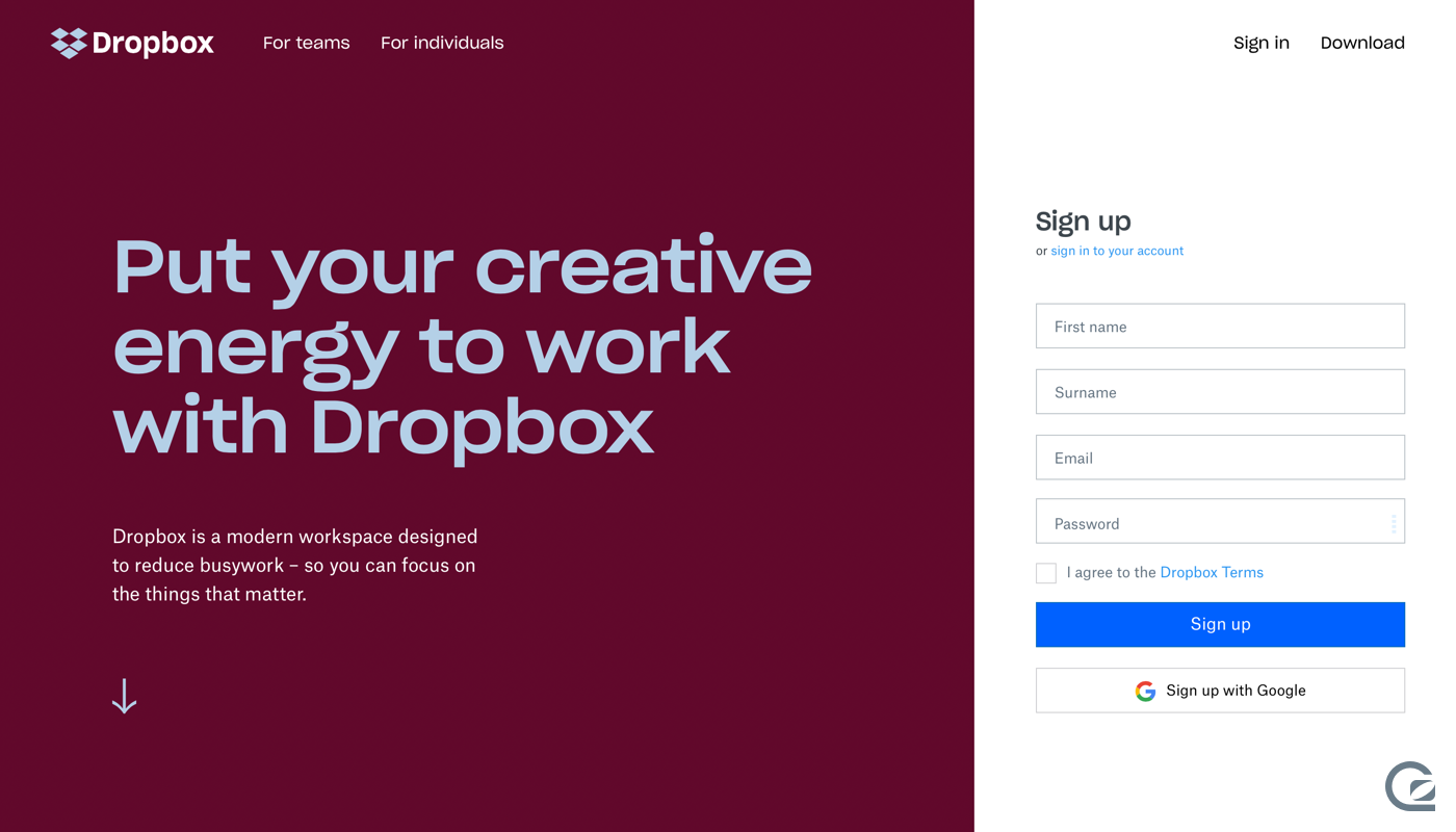 Dropbox website navigation