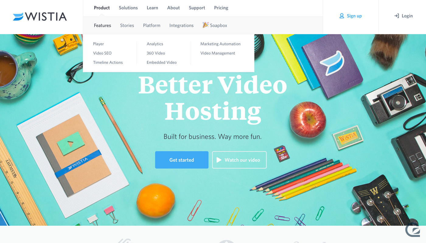 Wistia website navigation