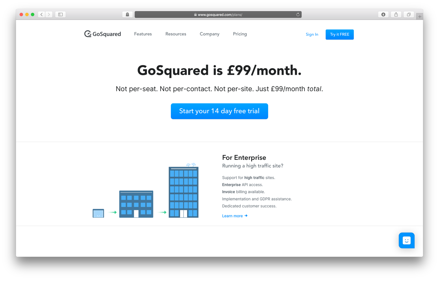 Simplified GoSquared pricing