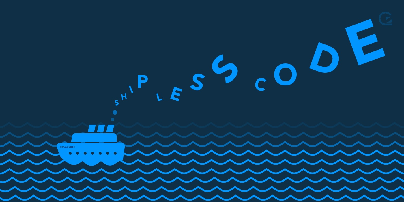 dark blue background with pale blue boat and ship less code written across