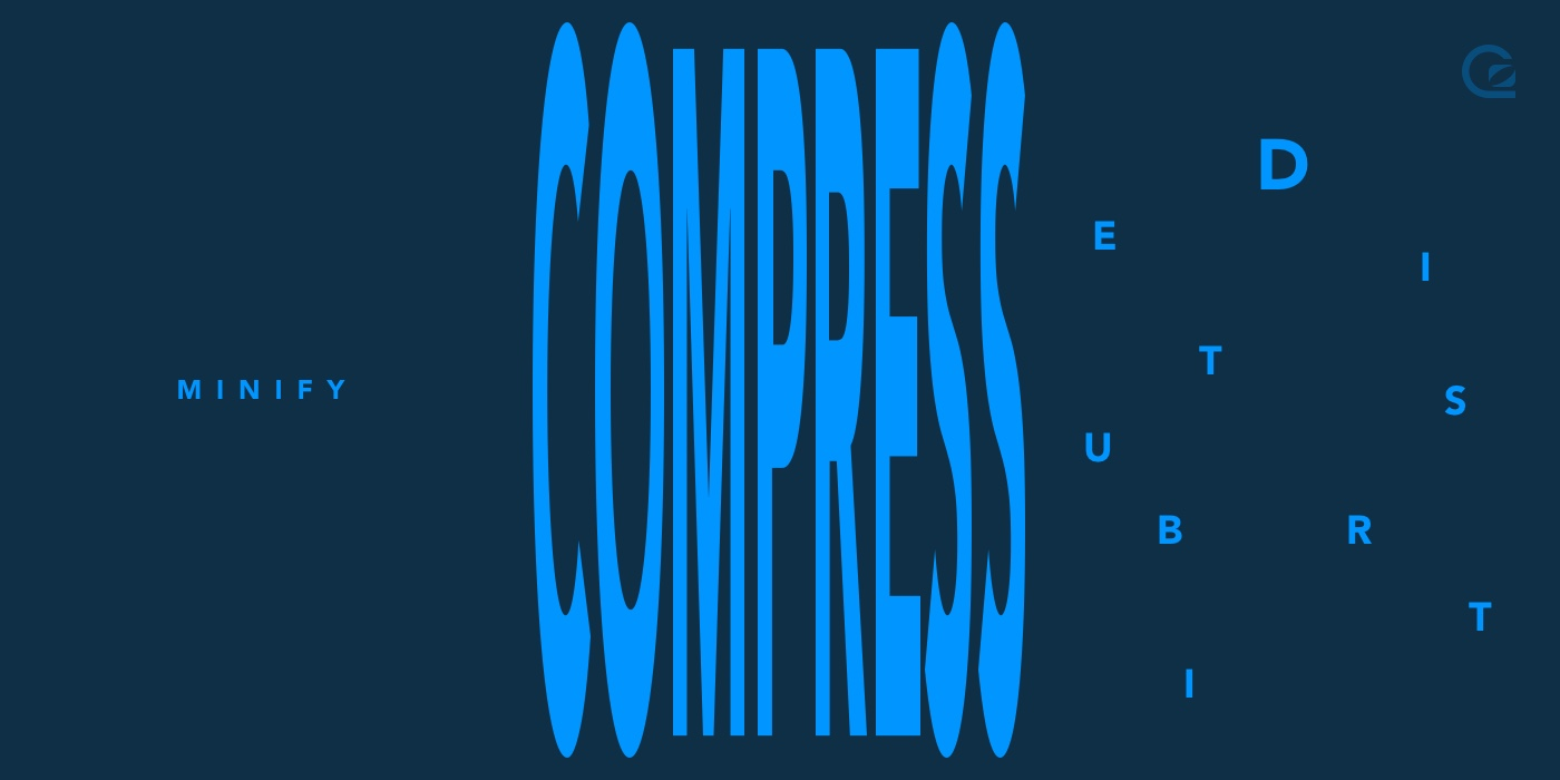 dark blue background with COMPRESS in pale blue in the middle