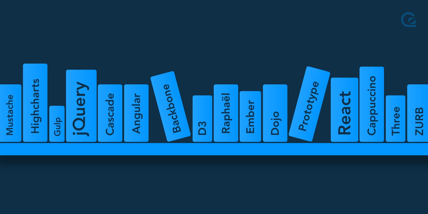 dark blue background with a pale blue shelf of books with different engineering phrases on the spines