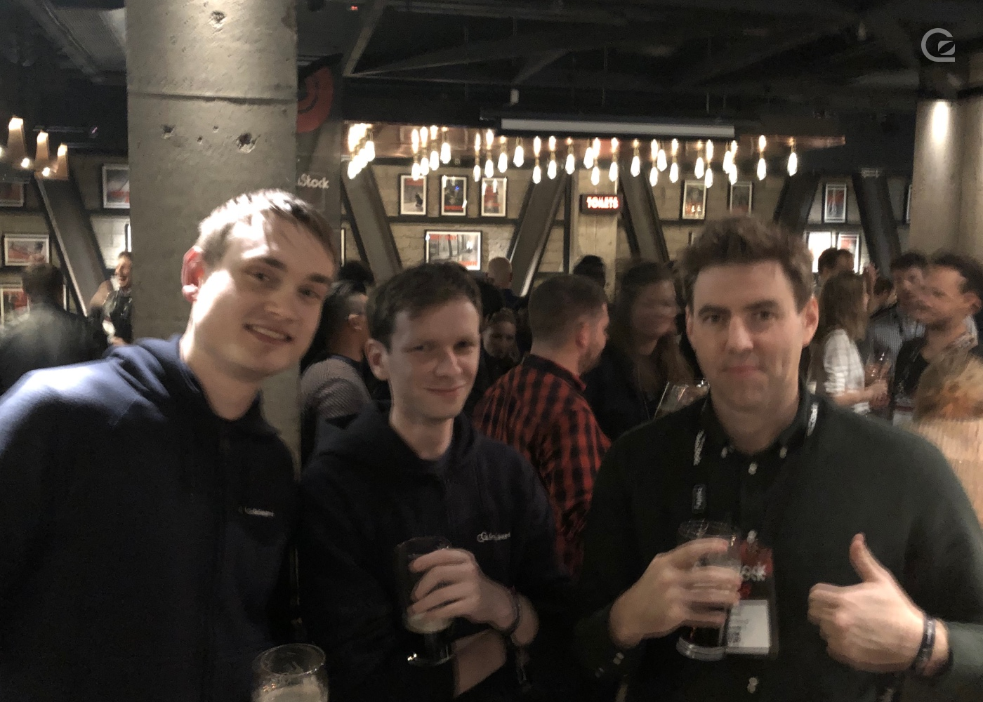 photo of Geoff, JT, and Russell at the closing party