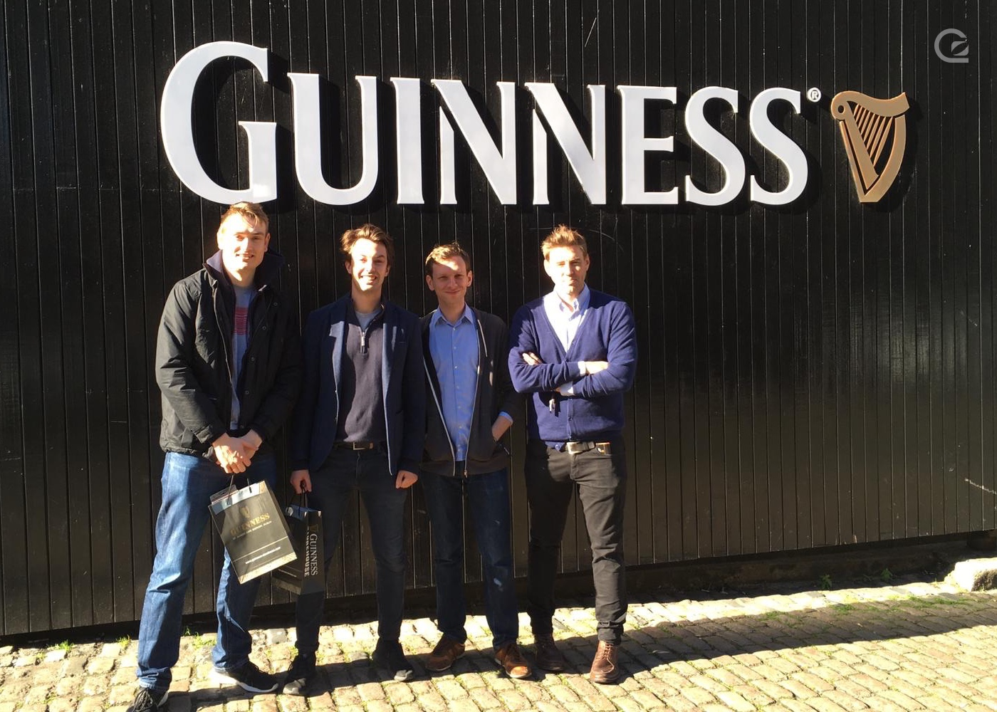 photo of the team outside the Guinness factory