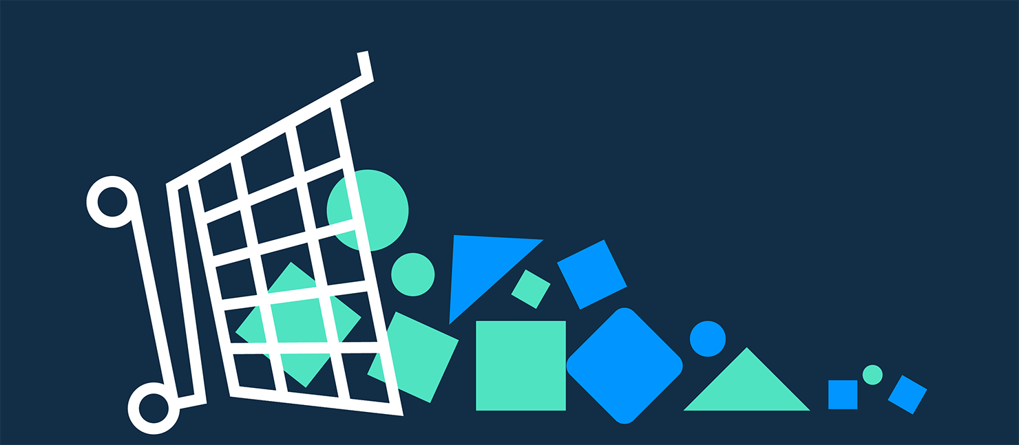 a dark blue background with a shopping trolley tipped over and shapes falling out