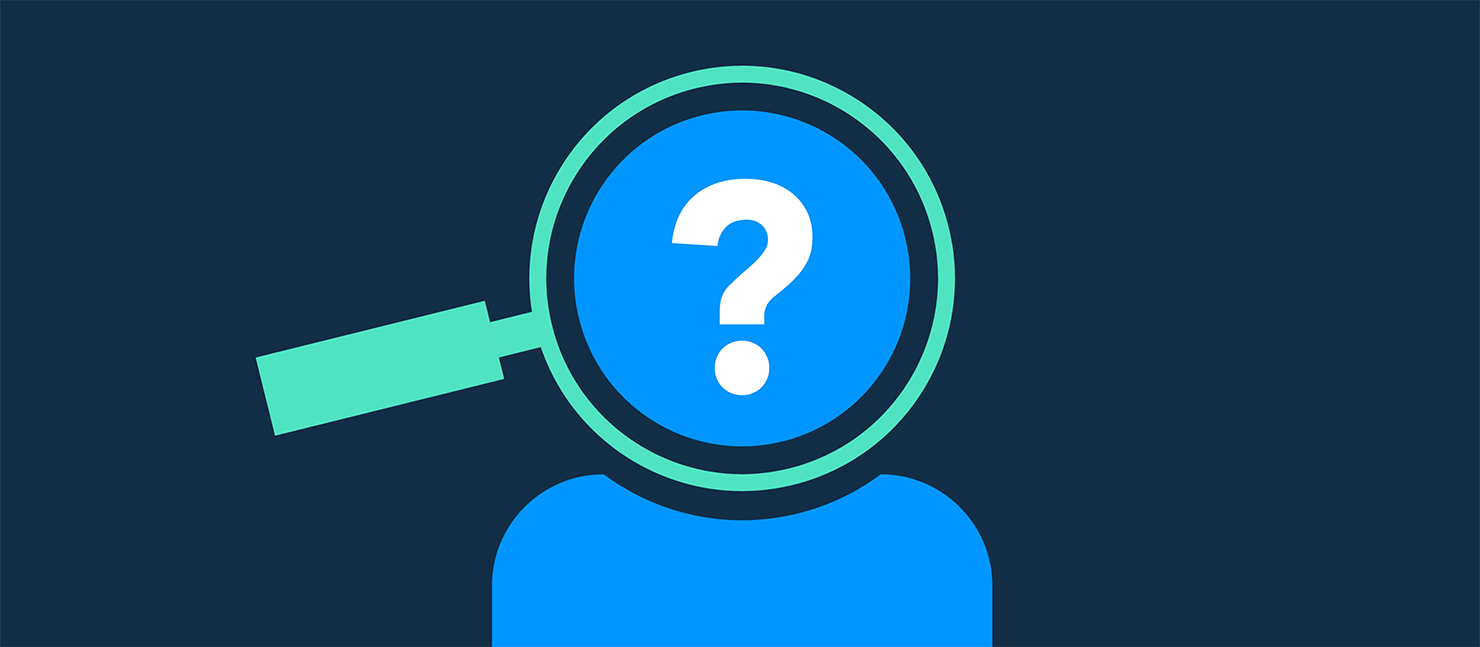 dark blue background with a graphic person in the centre, their face is covered by a magnifying glass and a question mark