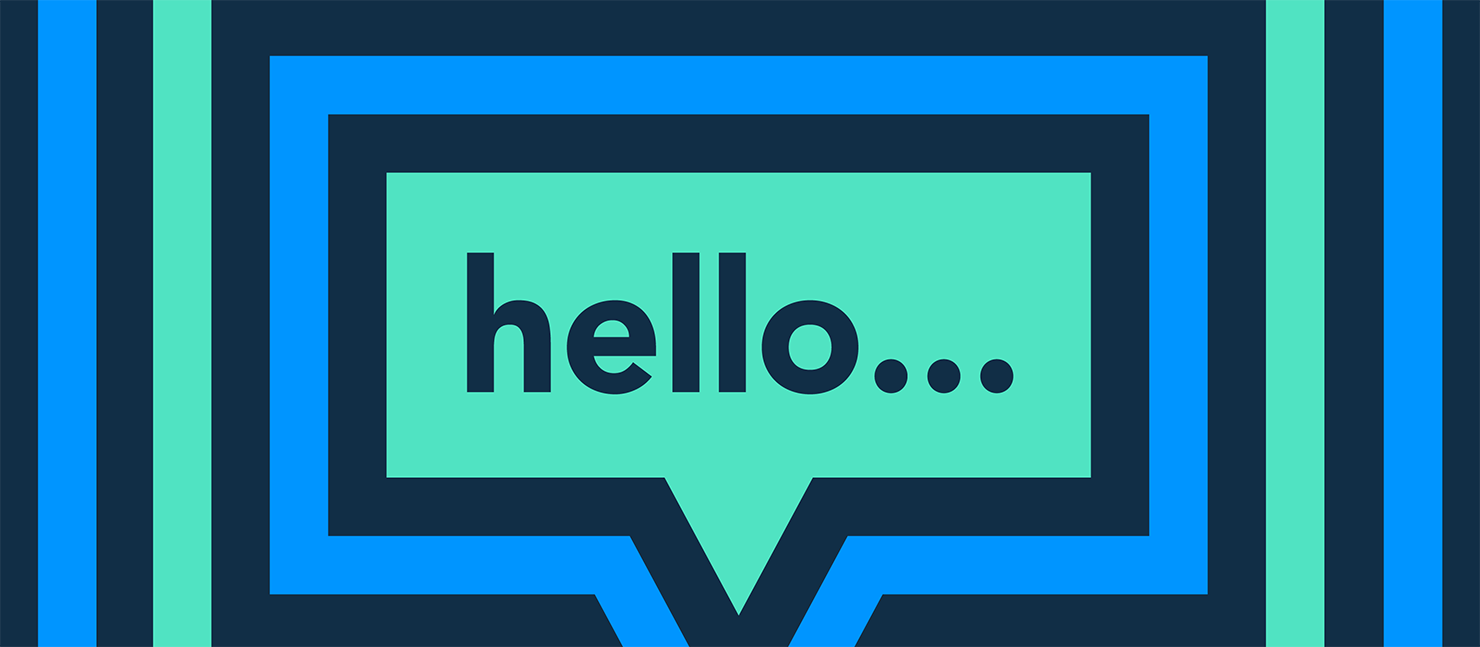 a green speech bubble saying 'hello...' on a dark blue background