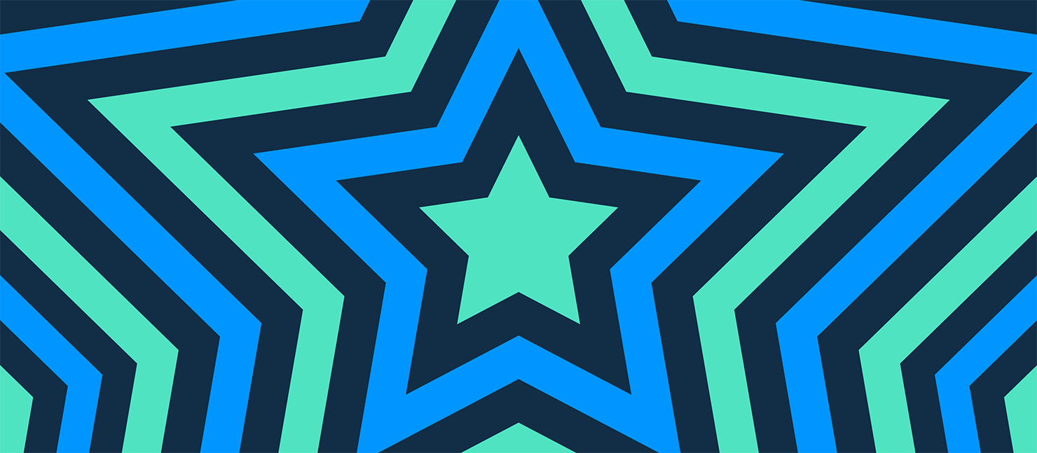 a star in green and blue on a dark blue background