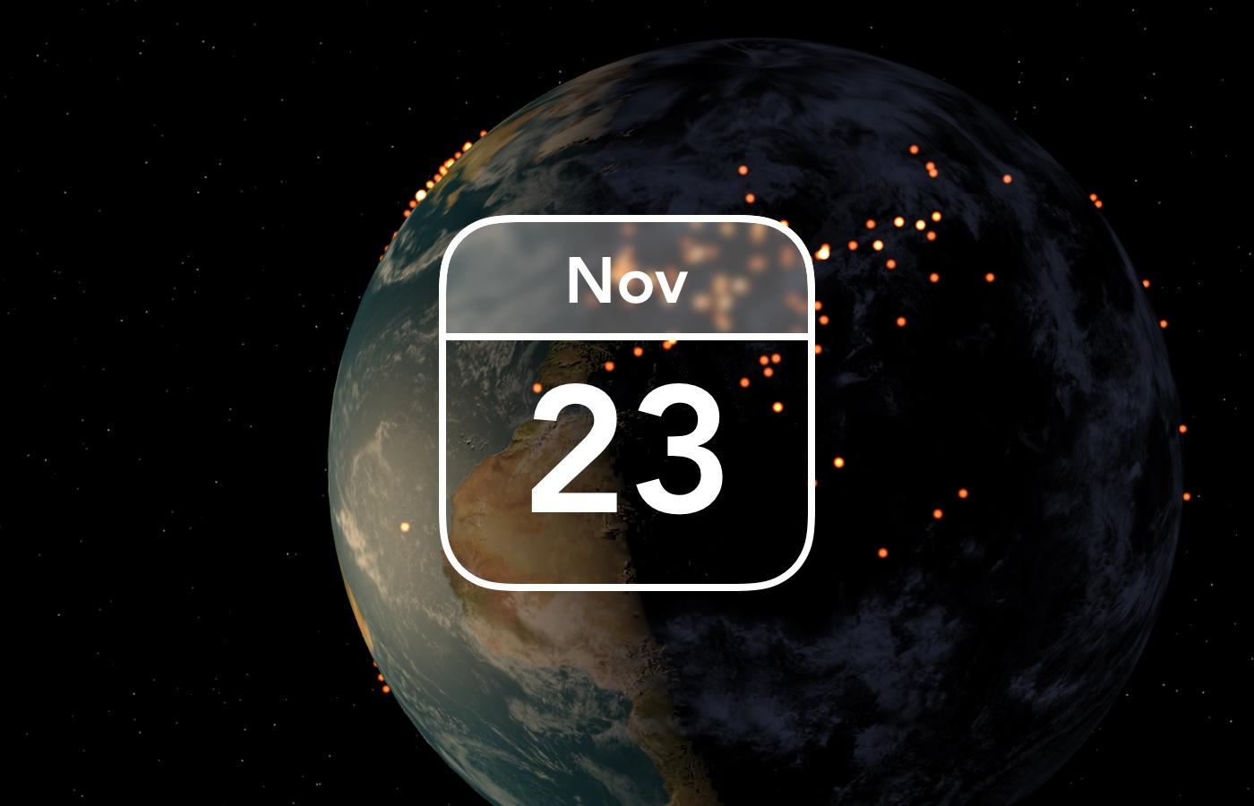 image of the globe with small lights representing customers, the date November 23, Black Friday, is stamped over the image