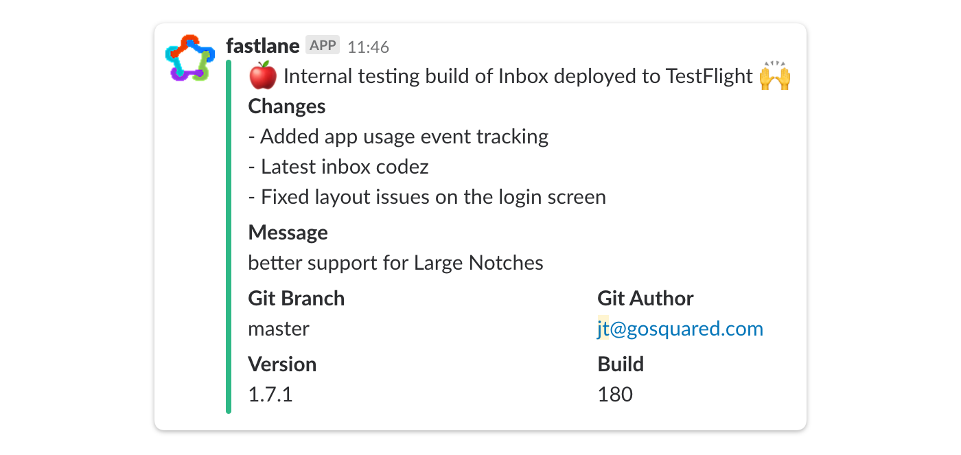 screenshot of fastlane integration in slack