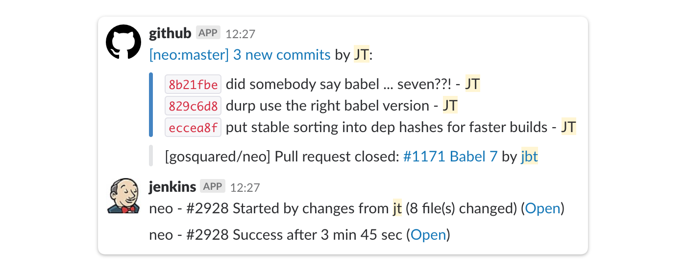 screenshot of a slack integration
