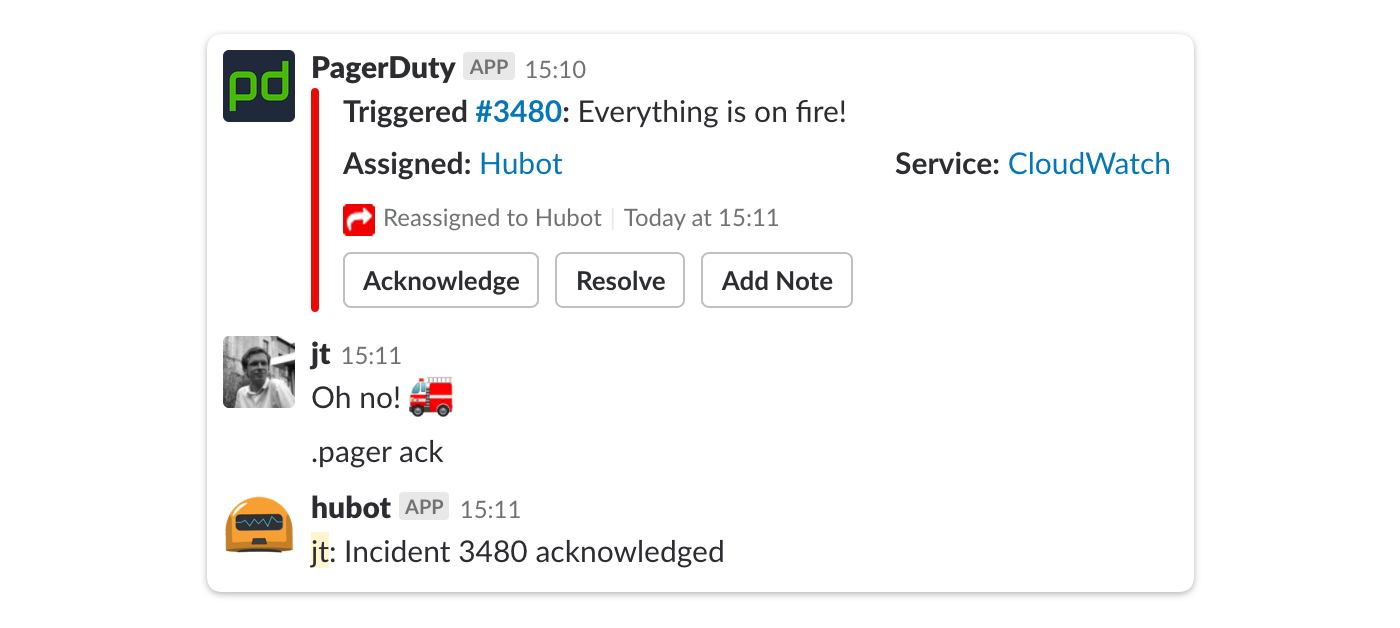 screenshot of a slack integration where something has gone wrong