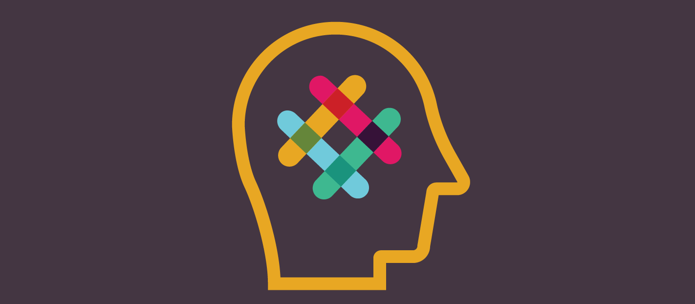 a head on a dark background with the slack logo inside