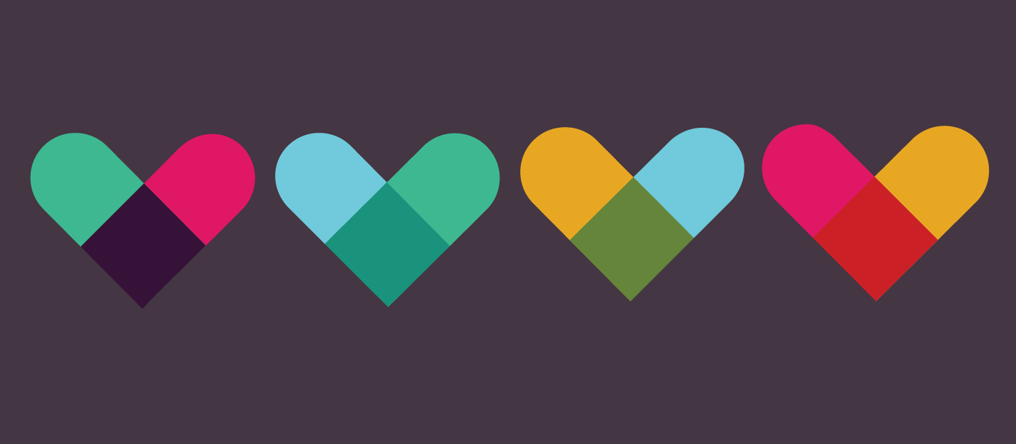 slack colours into hearts on a dark background