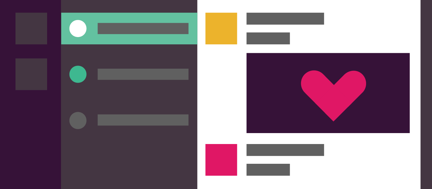 slack interface with a heart