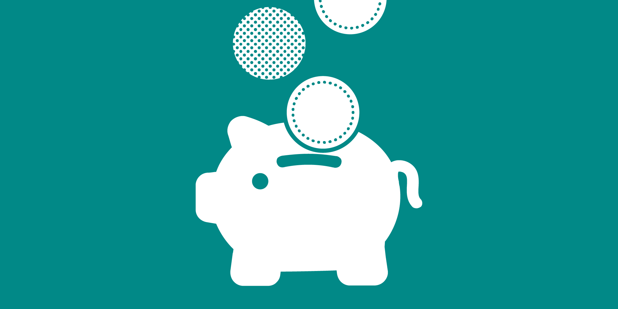 a white piggy bank with coins going into it on a green background