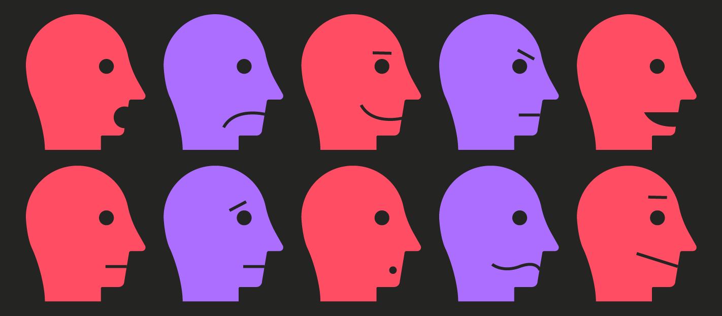 lots of faces with different expressions showing customer behaviour