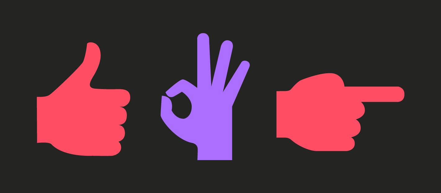 different hand signals