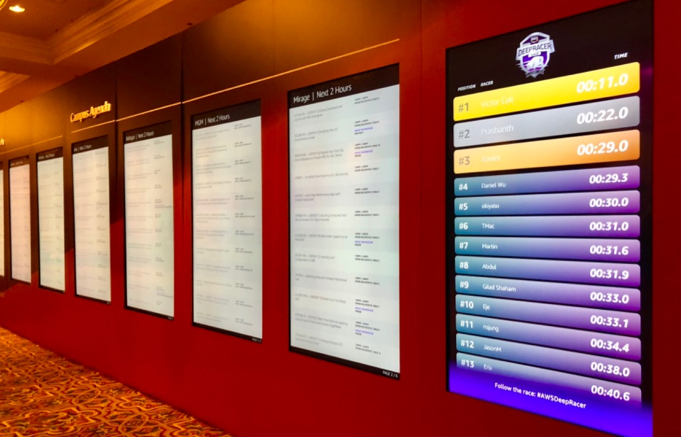 the DeepRacer leaderboard at AWS re:Invent