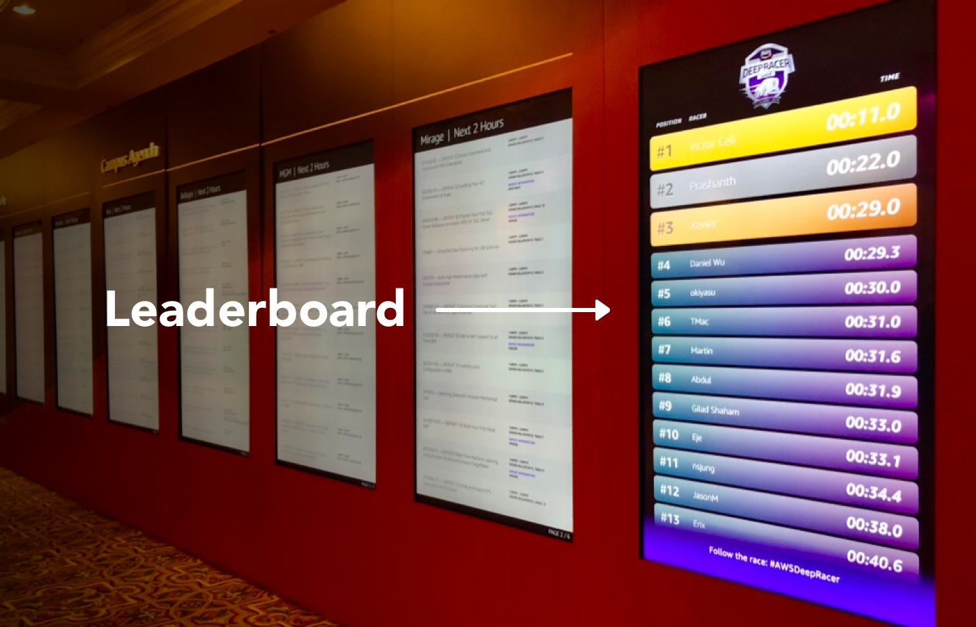 the DeepRacer leaderboard on the wall at AWS re:Invent