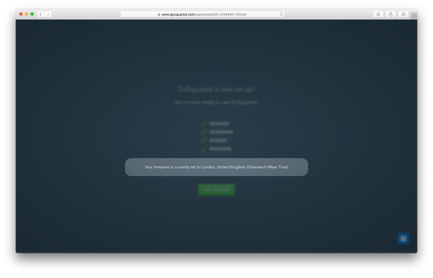onboarding of GoSquared