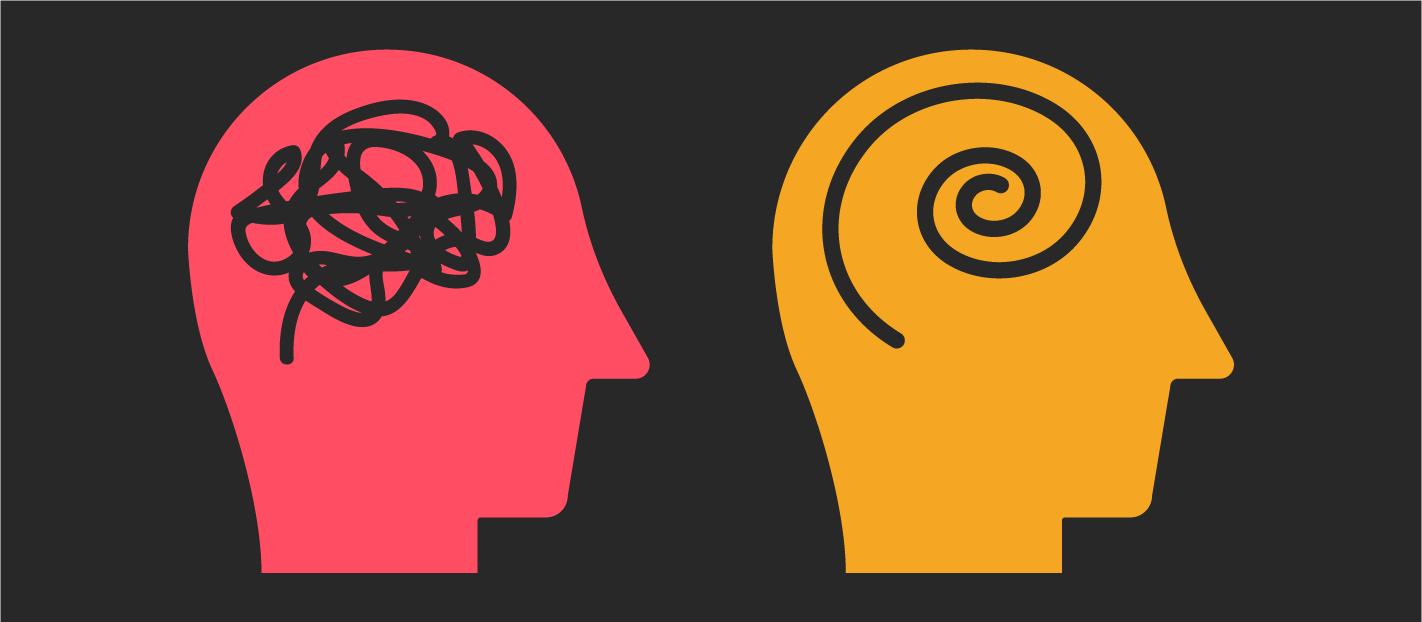 two illustrated heads on a dark background showing context in one and not in the other